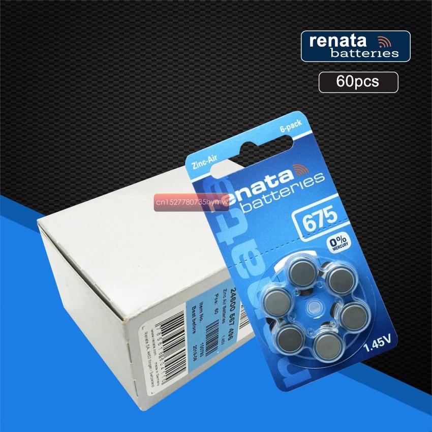 RENATA 60 stücke/10 pack Batterien XRenata ZA675 PR44 Zink Air 1,45 V Hörgeräte Batterie