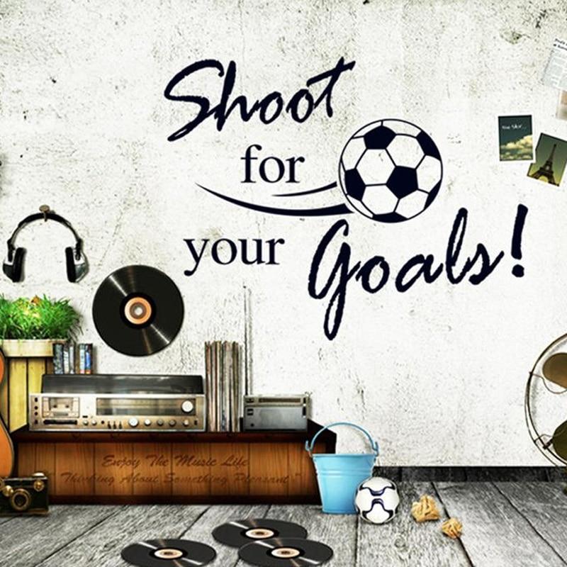 Настенные наклейки на тему футбола shoot for goles, настенные наклейки на тему футбола для детской комнаты, гостиной, украшения для спальни, для мальчиков, наклейки на стену в подарок