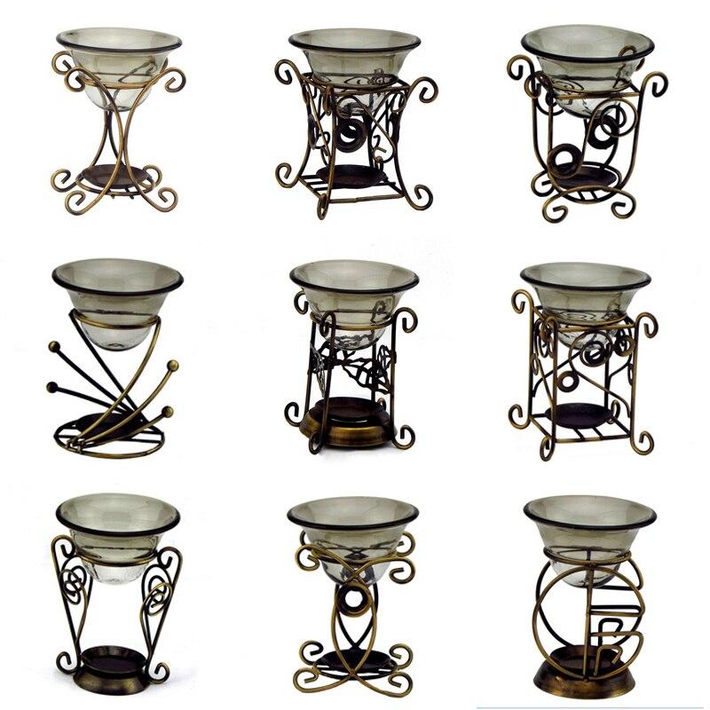 Ретро железные Ароматические горелки Арома печь со свечей масляная горелка стеклянная тарелка эфирные масла инструменты для свадебной вечеринки декор A $