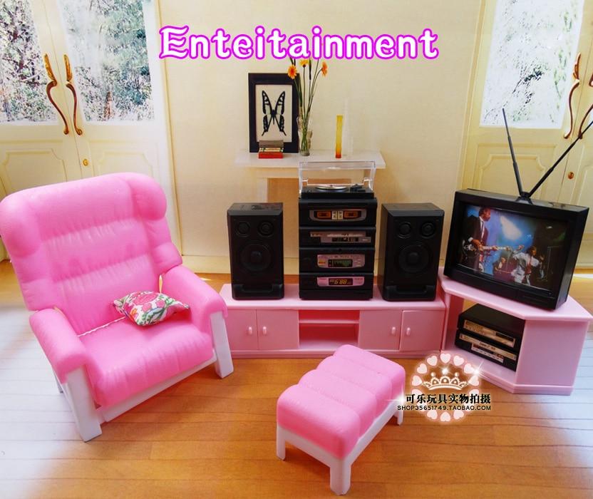 مجموعة أثاث دمية باربي ، مجموعة جديدة من أثاث غرفة المعيشة ، ملحقات التلفزيون لدمية باربي ، هدية عيد الميلاد والكريسماس للأطفال