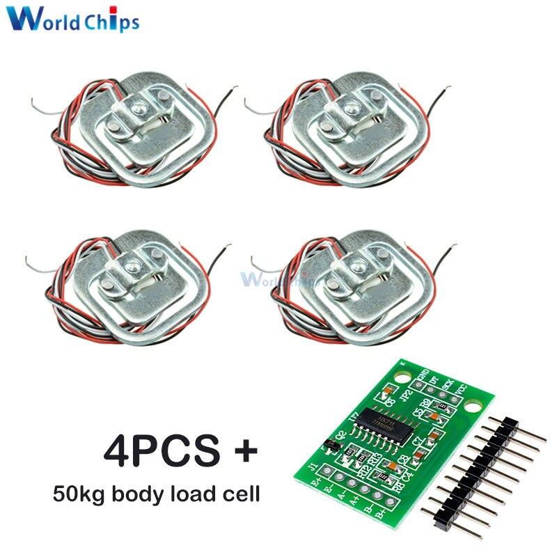 4 шт. 50кг датчик веса в человеческом масштабе + HX711 AD модуль датчик нагрузки тела Взвешивание датчики давления инструменты для измерения