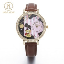 Miss Keke 3d Clay Cute Mini World Bear Rhinestone Watches Clocks Relogio Feminino Ladies Women Quartz Leather Wristwatches 924