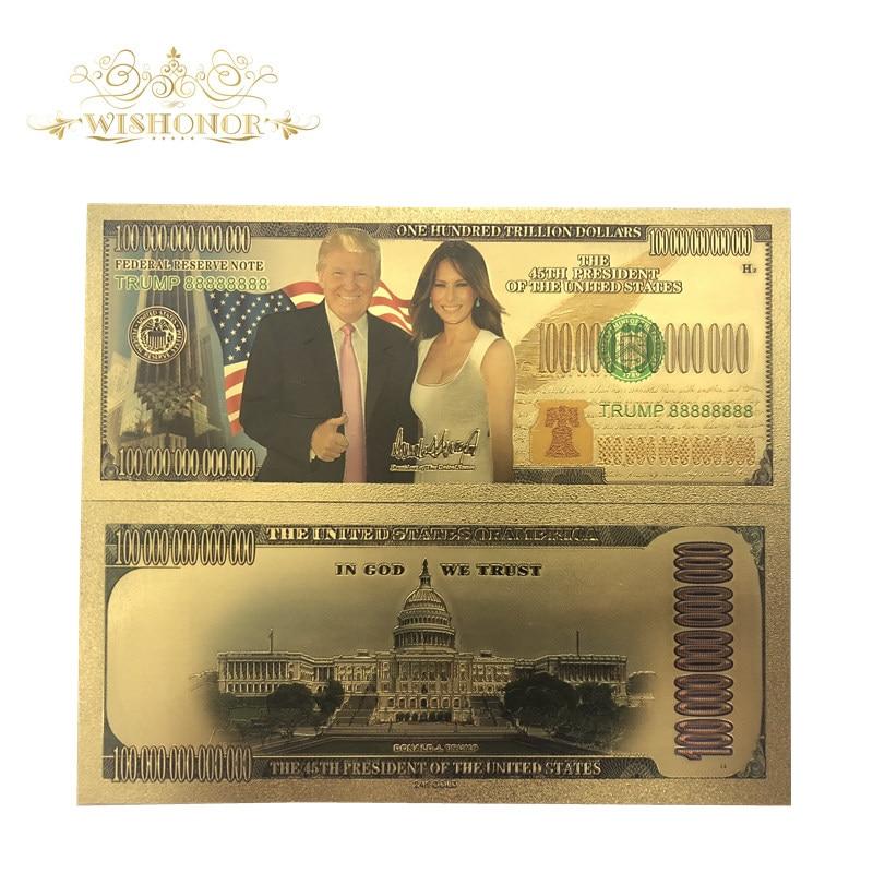 10 unids/lote buen americano Trump y la primera dama billetes Billetes de dólar billetes en 24K papel de dinero para regalos