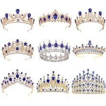 Real de cristal azul coronas de oro novia Tiara Fashion Queen para boda desfile de la Corona boda pelo joyería