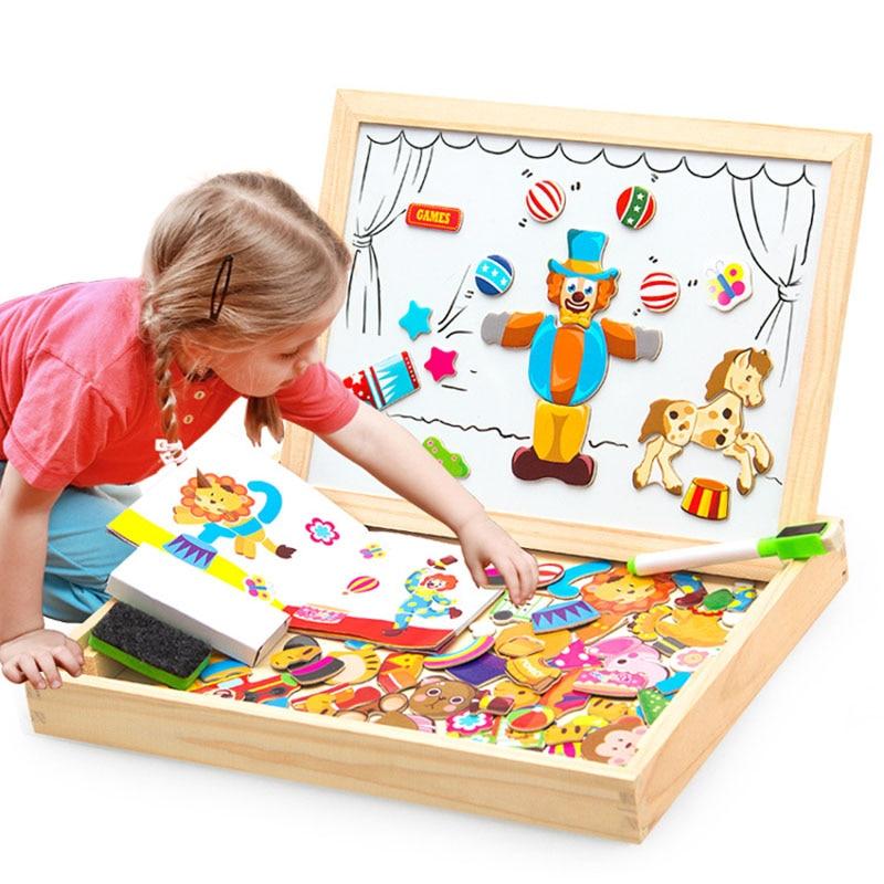 100+Pcs Wooden Multifunction Children Animal Puzzle Writing Magnetic Drawing Board Blackboard Learni