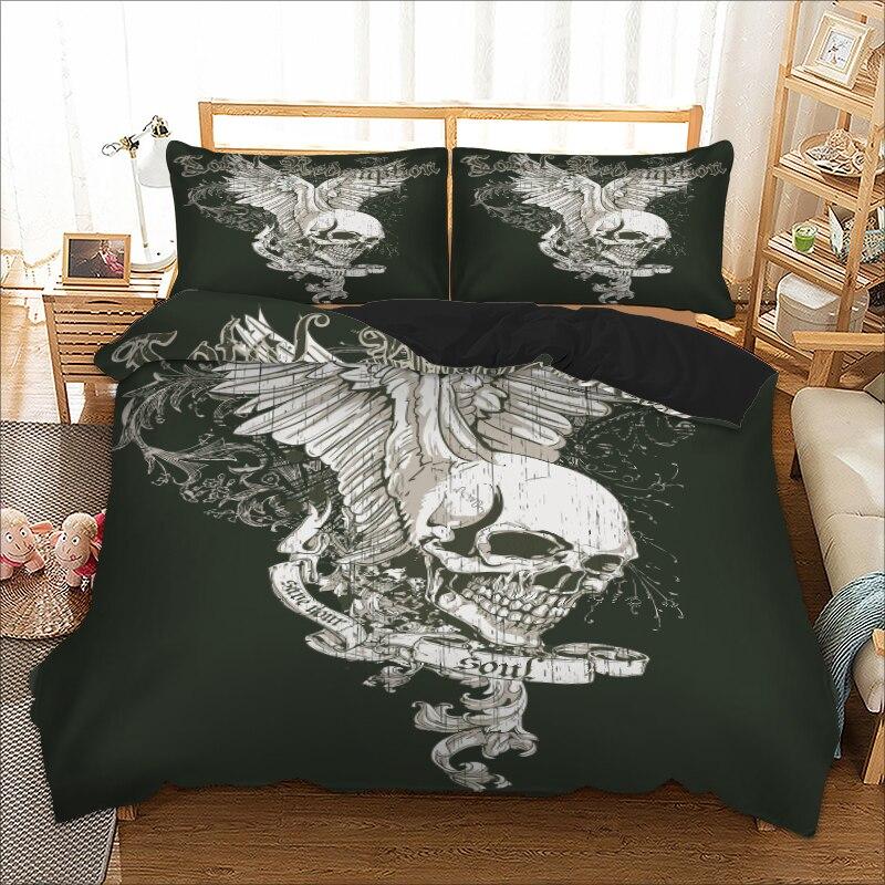 Black Eagle skull pattern Single Double Queen sizes bed linens Duvet Cover set bedding set double polyester bedclothes bed set