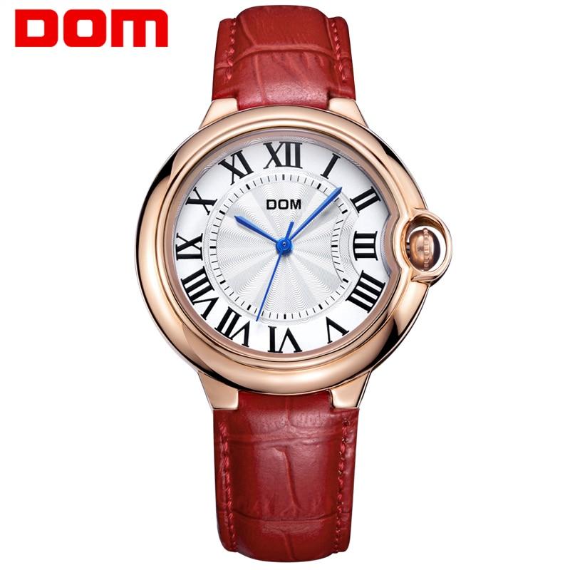 DOM Watch Women brand luxury Fashion Casual waterproof leather Lady golden quartz watches relojes womenes Dress Clock G-1068