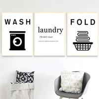 wash dry fold iron laundry funny sign quote wall art canvas painting nordic posters and prints wall pictures for bathroom decor