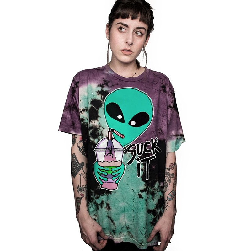 Alien Suck It We Come In Pizza Goodbye футболка с буквенным принтом, забавная Повседневная футболка с круглым вырезом, подарочные футболки для влюбленных, ф...