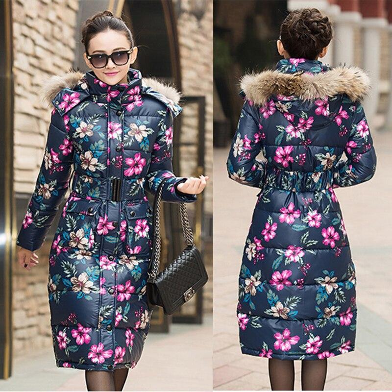 Chaqueta de plumón de pato con estampado Floral, abrigos de invierno largos y gruesos para mujer, chaquetón largo de invierno con capucha de piel grande, elegante, LA0044, 2020
