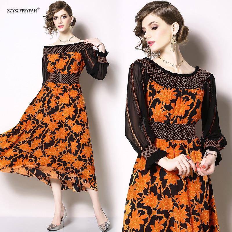 ZW9681# spot  high-end heavy industry embroidery word shoulder chiffon dress fashion trim print dress