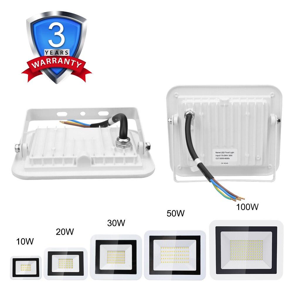 100W 50W 30W 10W 20W LED Flood Light Warm White/Cold White IP66 Waterproof 220V Garden Floodlight Outdoor Spotlight Wall Lamp