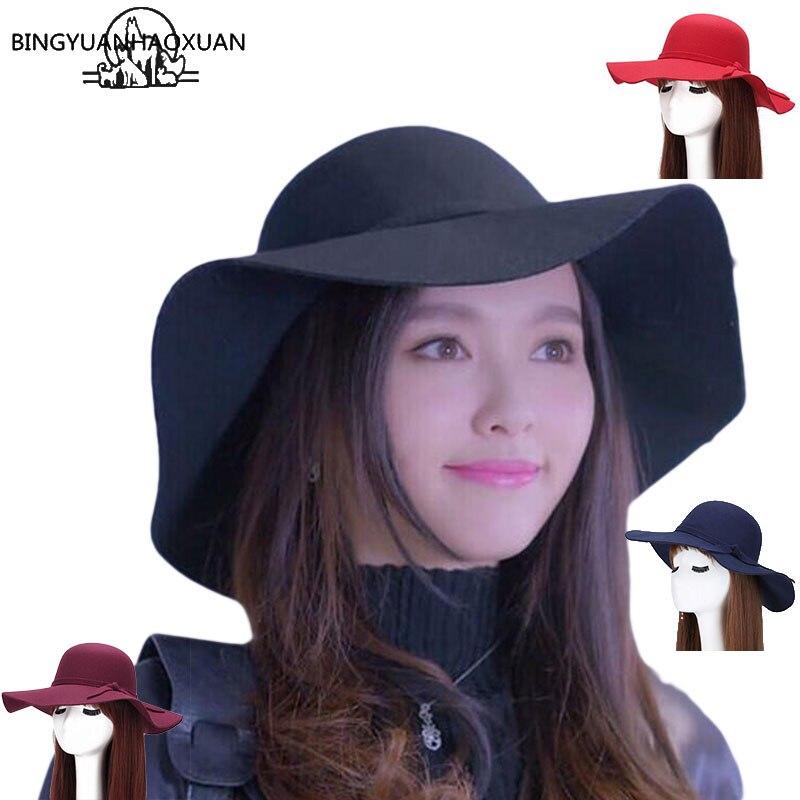 BINGYUANHAOXUAN רך 2017 סגנון חדש נשים בציר צמר רחב שולי Felt Bowler פדורה כובע הג 'אז גדול תקליטונים קלושים של נשים כובעי