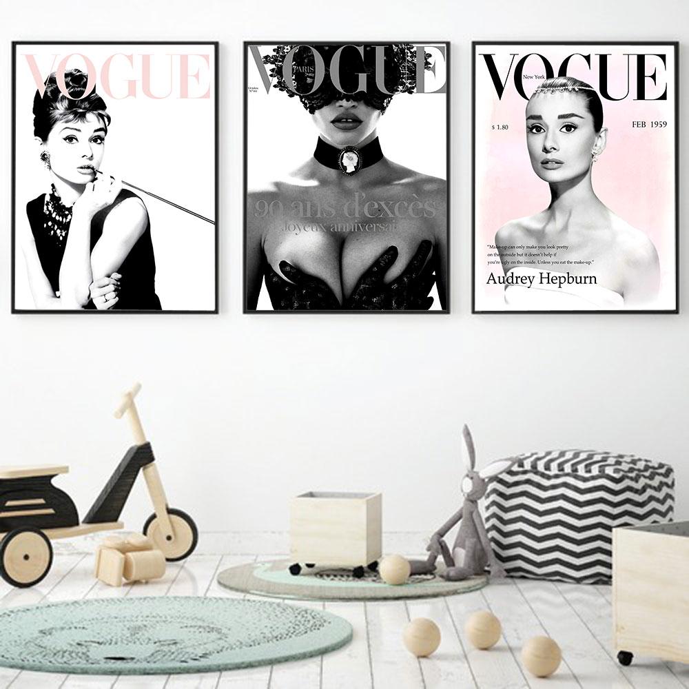 Vogue Woman Figure Wall Art Painitng for Living Room Bedroom Home Decor Poster and Prints Metal Organic Glass Frame