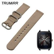 22mm Nylon Bracelet de montre zoulou Bracelet pour Asus ZenWatch 1 2 hommes WI500Q WI501Q galet temps/acier tissu ceinture Bracelet noir marron
