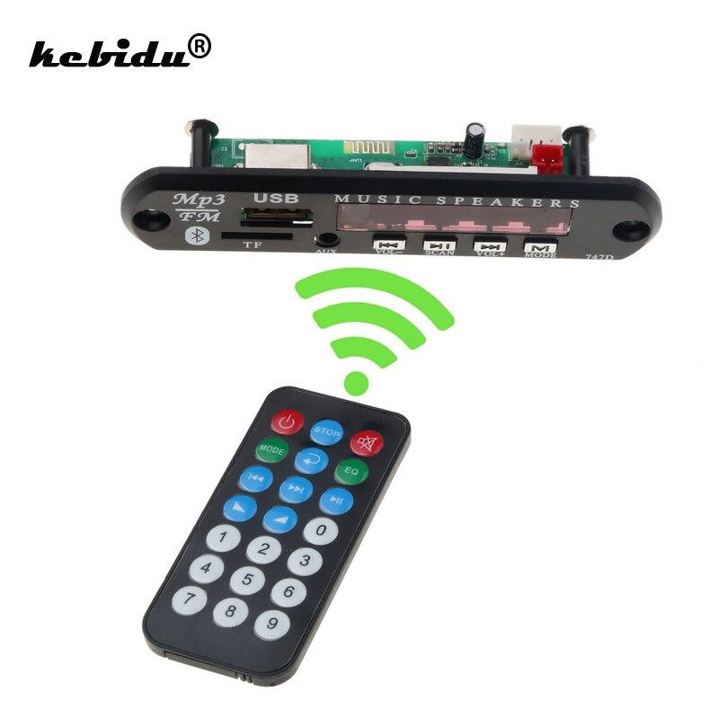 Kebidu inalámbrico Bluetooth placa decodificadora de MP3 para coche USB de Audio TF FM Radio AUX 12V 5V + Control remoto para iPhone Huawei