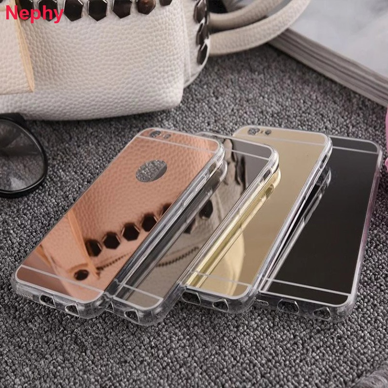 Funda de silicona suave de TPU con espejo de lujo para iPhone 6 s 6S 7 7S 8 Plus 5 5S 5SE iPhone X 10 6Plus 6splus 7Plus 8 Plus
