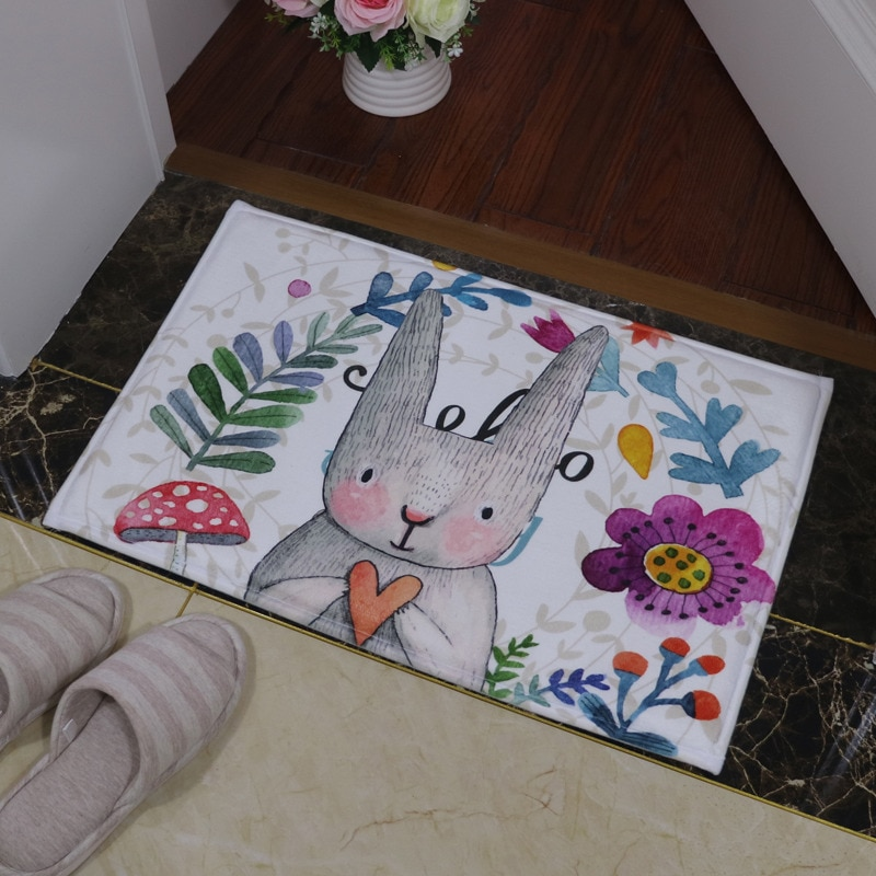 Bathroom Carpet Doorway Floor Antiskid  Absorbent Cute Smell Rabbit Printing Bath Mat Living Room Bedroom Rug Door Way Feet Mats