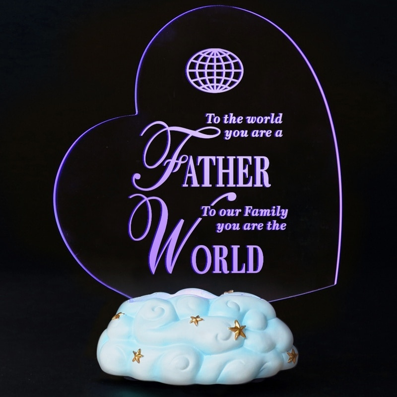Giftgarden Heart Led Lamp Cloud star Lamp Resin Cake Topper Engraved Acrylic Night Light Gift for Father
