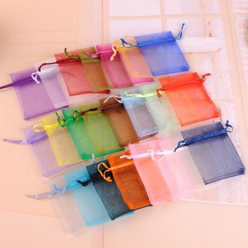 Мешочек для мелких украшений 100 шт./лот 7x9 см цветная Сумка из органзы для свадебных сувениров и подарков