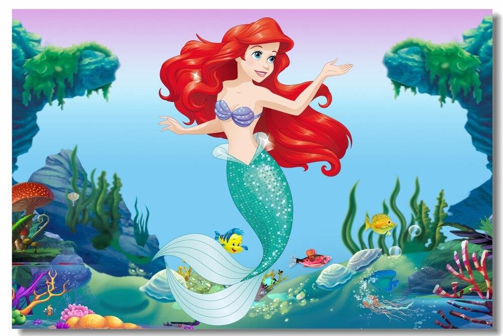 Personalizzato Stampa Su Tela di Arte Della Parete Della Principessa Ariel Poster The Little Mermaid Carta Da Parati Anime Wall Stickers Per Bambini Camera Da Letto Decor #0881 #