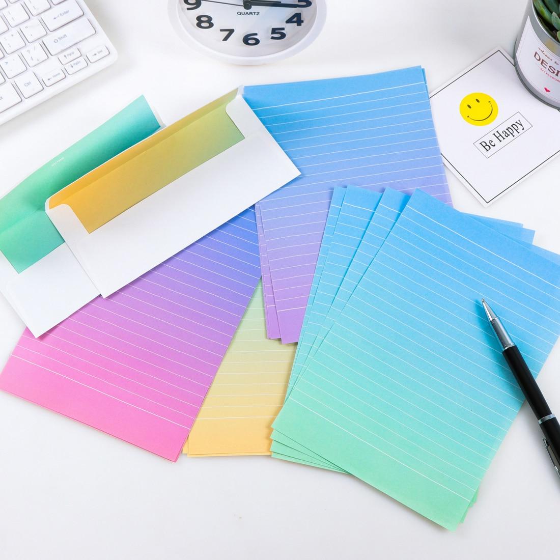 Градиентные конверты, милый набор бумажных букв в виде цветов каваи для детей, школьные принадлежности, школьные принадлежности для студентов