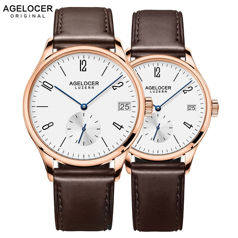 AGELOCER Brand Switzerland Watch lovers Watches Luxury Women Men Dress Watches Leather Wristwatches Fashion Casual Watches Gold