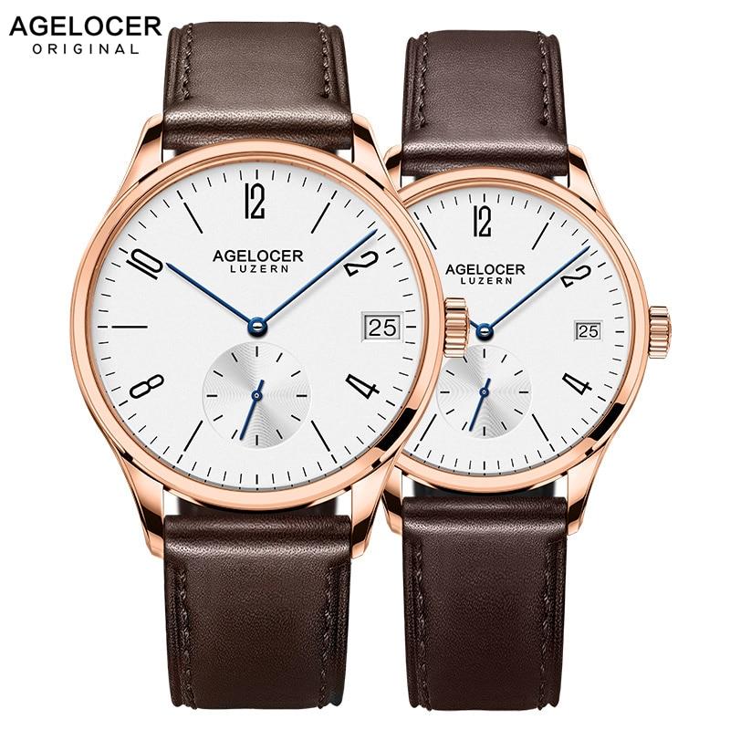 AGELOCER Brand Switzerland Watch lovers Watches Luxury Women Men Dress Watches Leather Wristwatches Fashion Casual Watches Gold