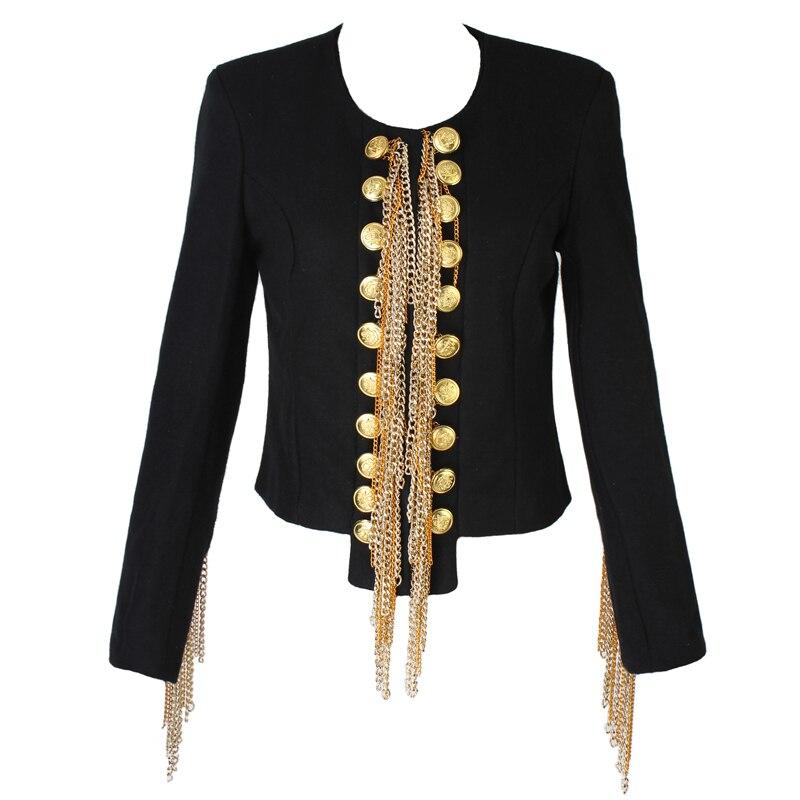 Nueva moda de alta calidad 2020, chaqueta Napoleón BAROCCO de pasarela, chaqueta de lana con cadenas de botones doradas de lujo para mujer