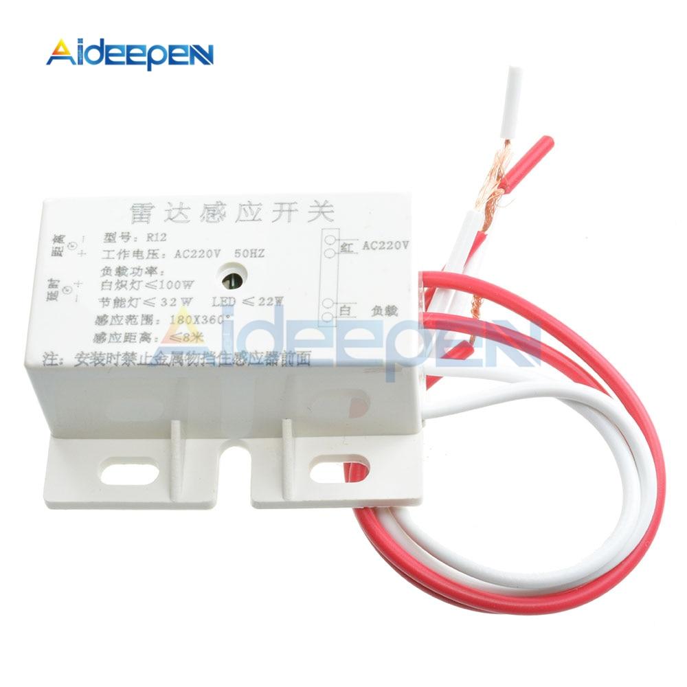 Interruptor de Sensor de movimiento del cuerpo infrarrojo automático AC 220V 50Hz PIR IR Módulo de Sensor de radar de microondas ajustable para rango de distancia horaria