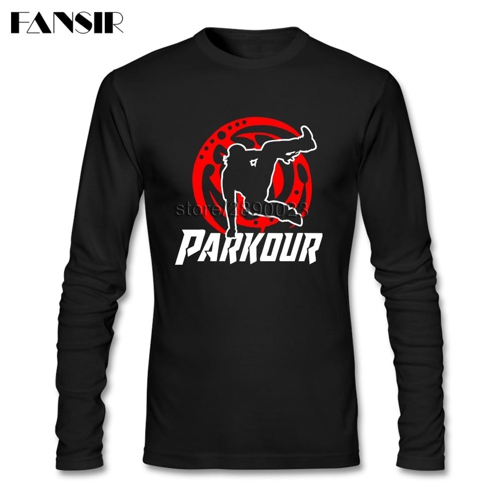 Camiseta de estilo básico para hombre Parkour CrewNeck de manga larga de algodón para hombres camiseta XXXL