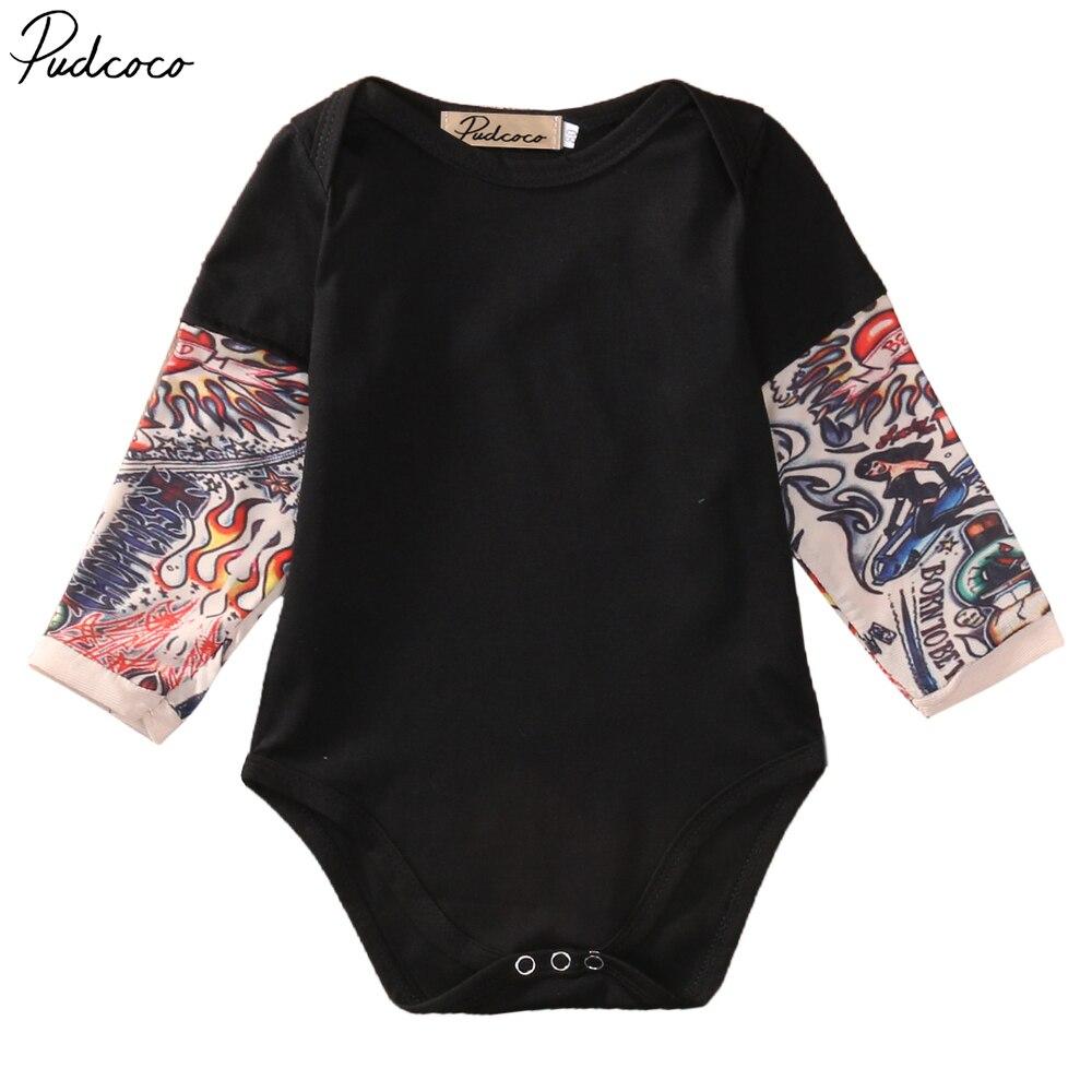Nuevo body Casual de manga larga para bebé, mono Casual para recién nacido, divertido tatuaje falso, manga larga, cuello redondo, mono de algodón 0-18m