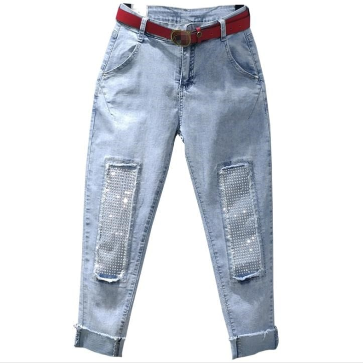 Moda diamantes de imitación diamante cintura alta Mujer denim Pantalones casual jeans longitud tobillo pantalones harem sueltos