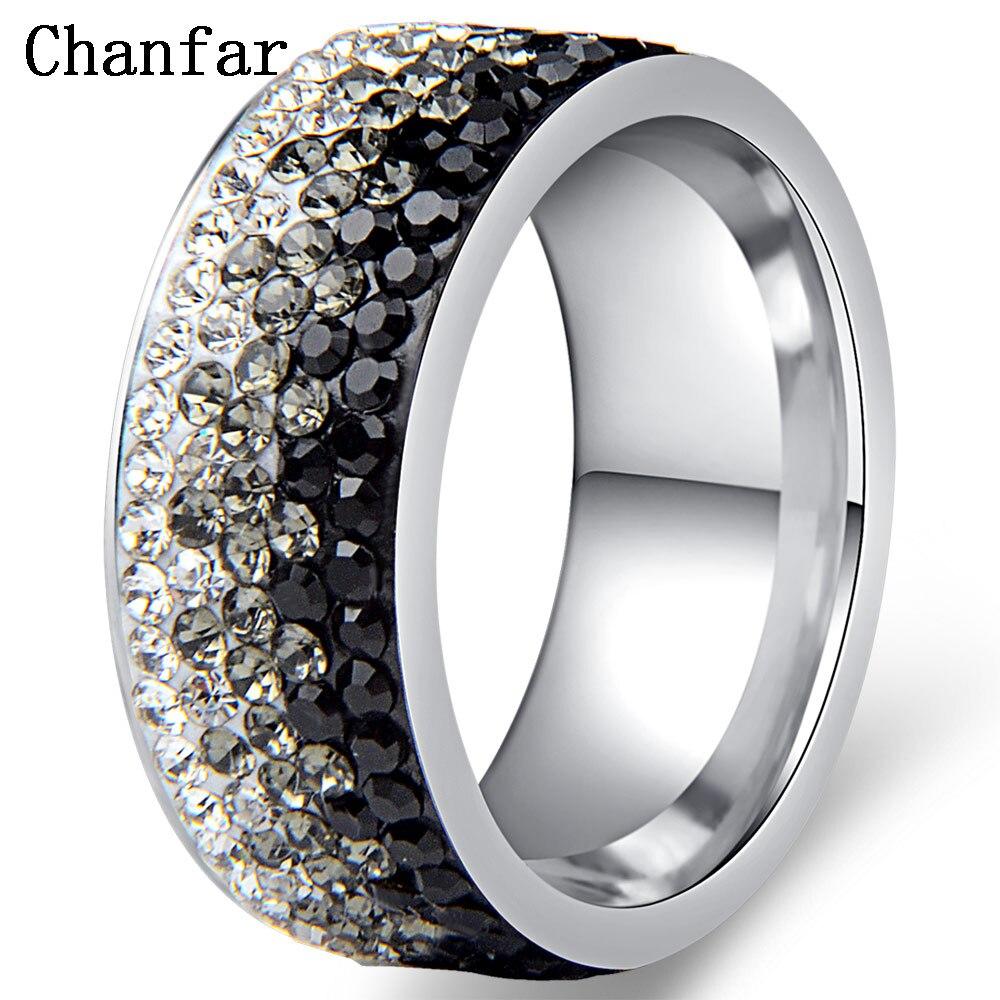 Женские и мужские кольца Chanfar, элегантные кольца из нержавеющей стали с кристаллами ААА, 6, 7, 8, 9, 10 размеров