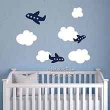 Autocollant mural pour chambre denfant   Autocollant pour nuages de bébé, dessin animé, stickers muraux pour chambre denfants, décors pour enfants, vinyle découpé N45