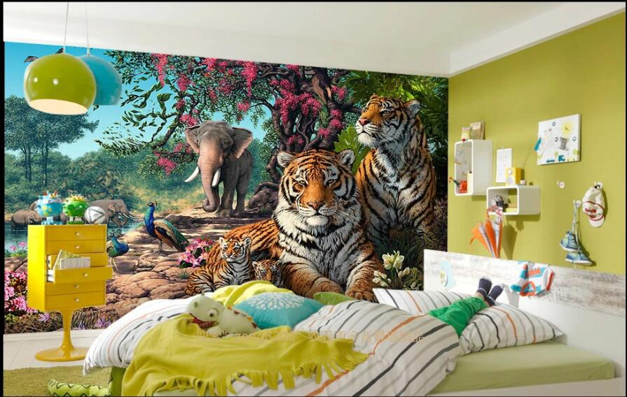 WDBH 3d foto papel pintado mural personalizado bosque animal Tigre elefante pintura al óleo sala de estar decoración para el hogar 3d pared murales papel tapiz