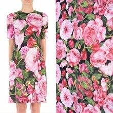 Rose peinture numérique mousseline de soie peluche tissu pour robe tissu tecido tulle tela pas cher tissus bricolage tecidos para roupa shabby chic