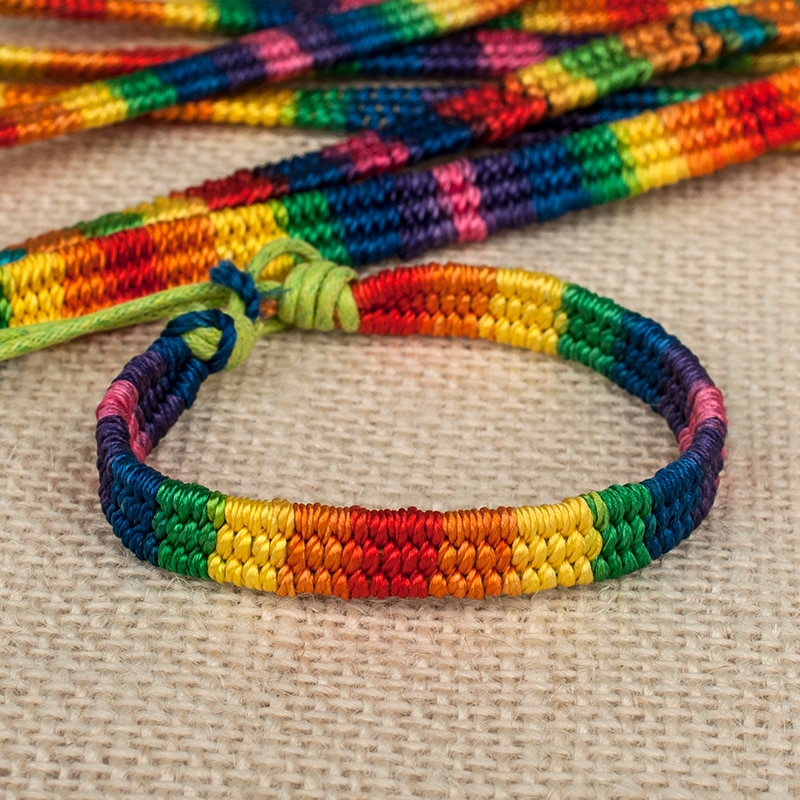 ABL267(120), Thick Brazilian Nepal Rainbow Lesbian LGBT Pride Gay Pride Woven Braided Rope String Strand Friendship Bracelet