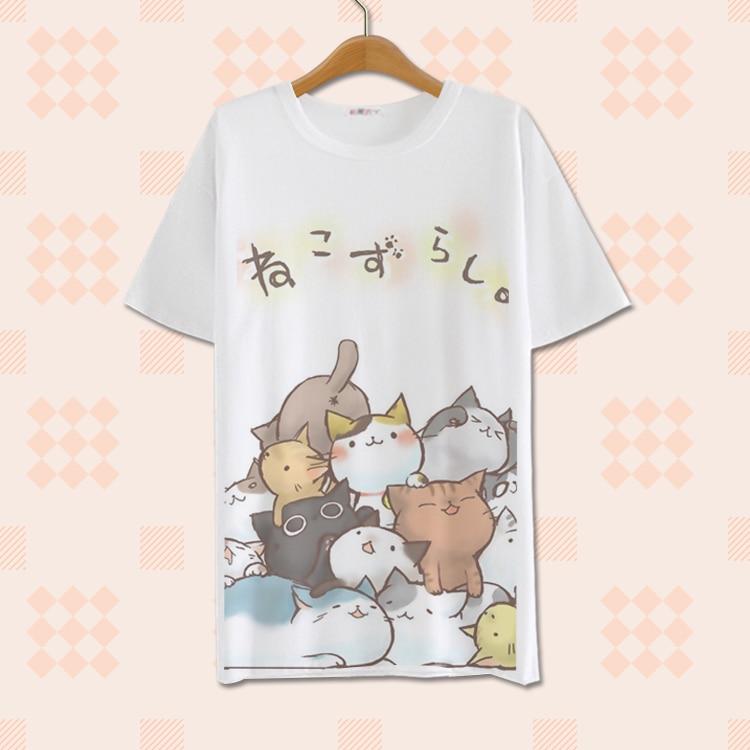 Camiseta de poliéster transpirable de moda Anime Neko Atsume Cosplay camiseta pantalón corto casual manga Linda Harajuku estilo Milk Silk camiseta