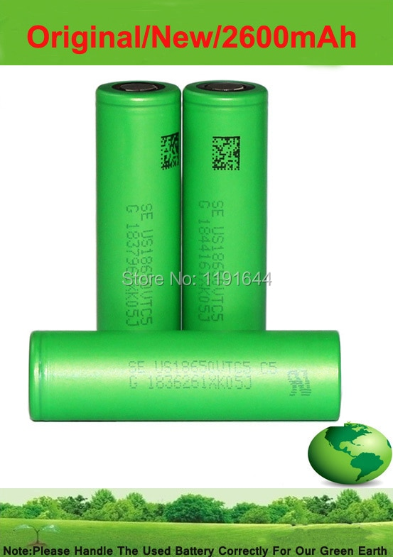 Freies verschiffen!!! 5 TEILE/LOS 100% original 3,6 V 18650 US18650VTC5 2600 mAh High drain 30A batterie VTC5 für Sony