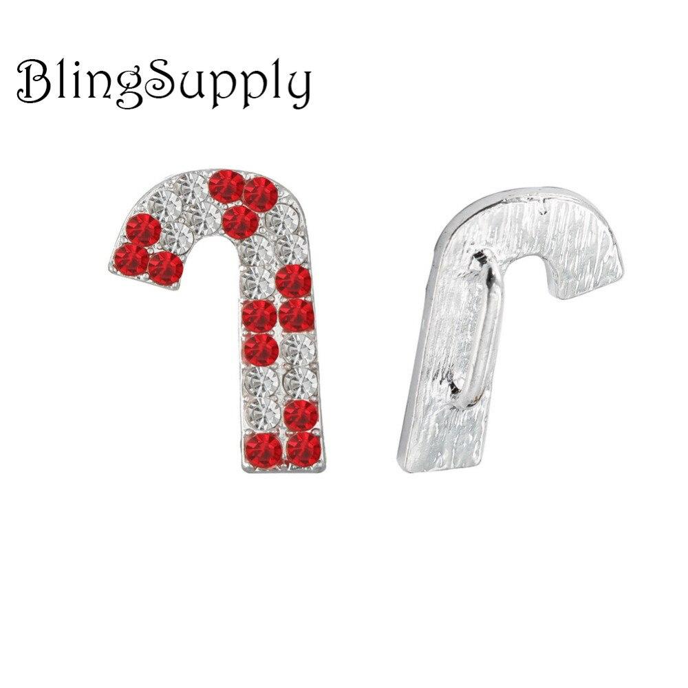Free shipping 23*19mm Christmas rhinestone candy cane button 100PCS (BTN-5400)