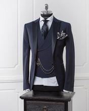 Bleu marine hommes Costume avec pantalon Slim Fit mariage costumes pour hommes formel marié smoking meilleur Homme fête de bal Blazer 3 pièce Costume Homme