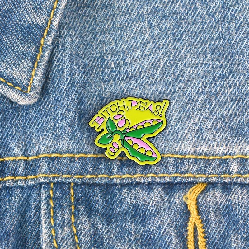 XEDZ nueva moda guisante verde BXXCH guisantes broche aguja amarillo verde vegetal tendencia Color a juego camisa Pin lindo regalo