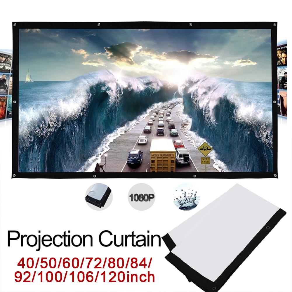 Cewaal 43 pantalla plegable para proyección de película Pantalla de tela ligera duradera de poliéster para cine en casa