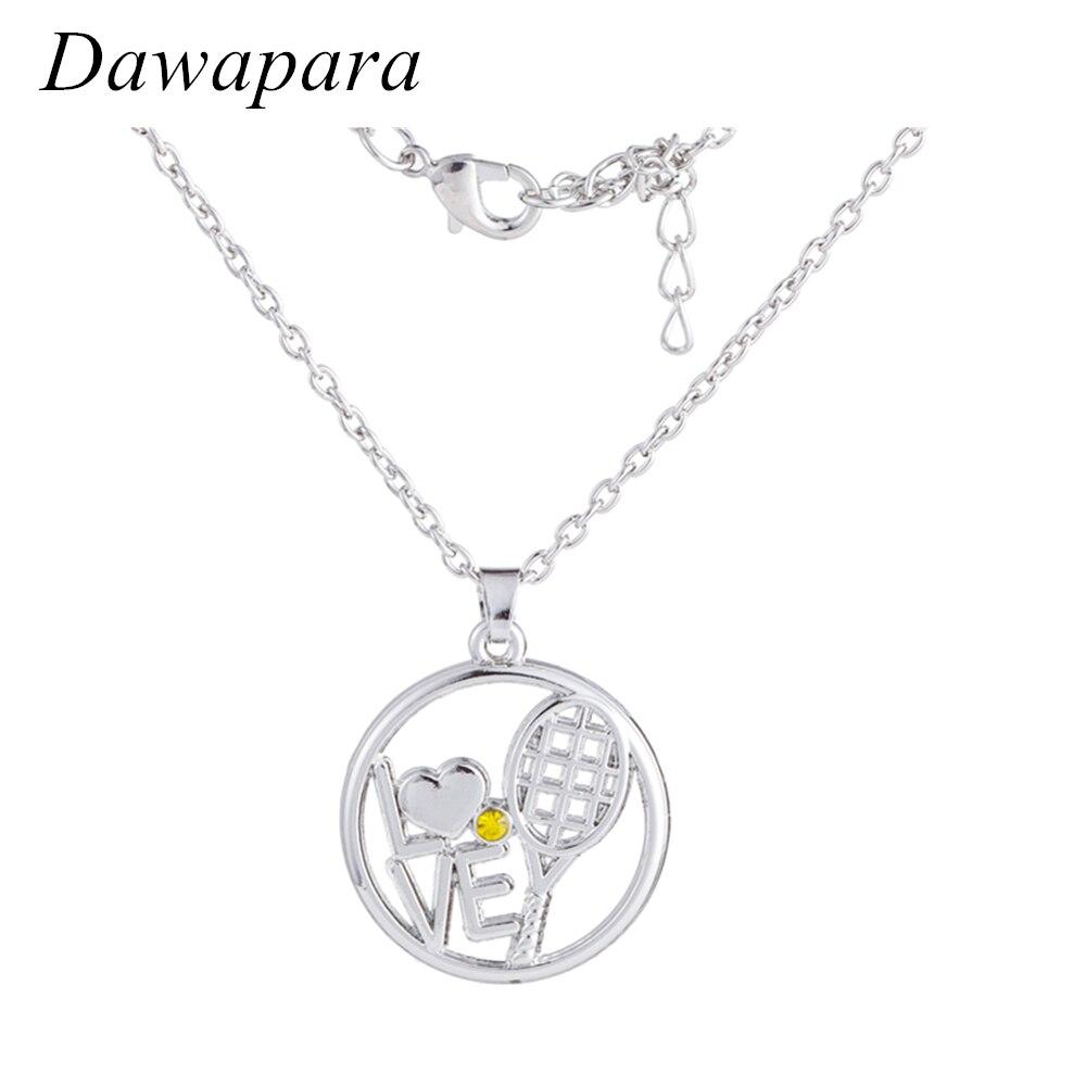 Dawapara Love Tennis Yellow Rhinestone Hollow Pendant Jewelry Fashion Sport Statement Necklace for Men and Women Trendy Charms