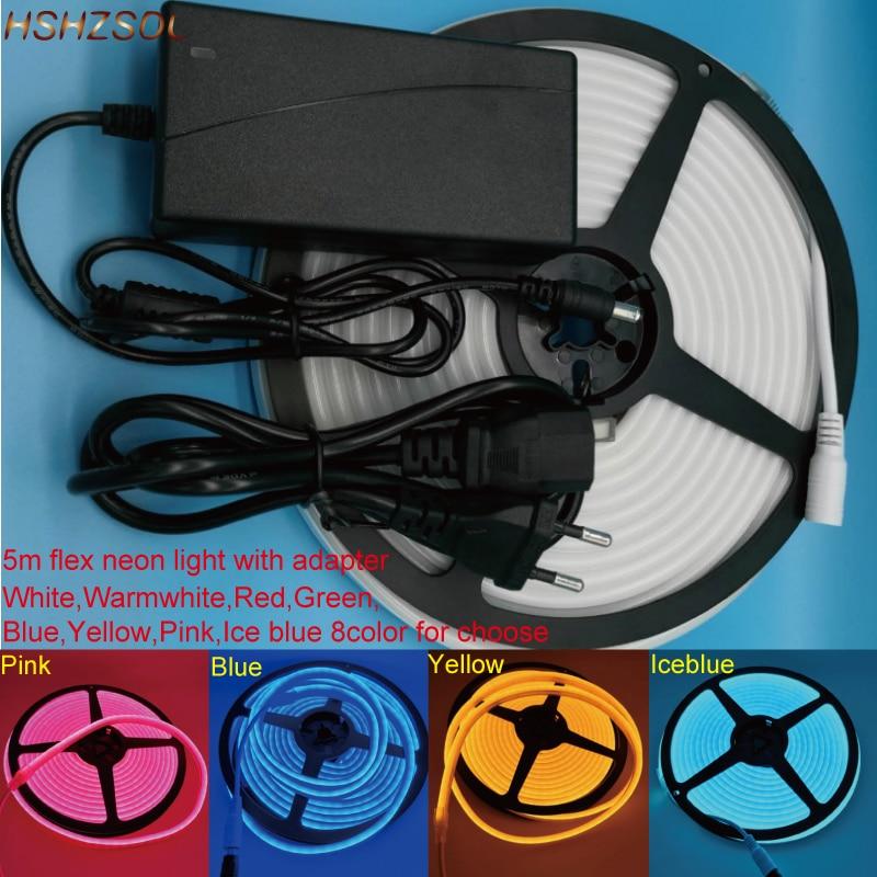 5m 6 * SMD2835 12mm LED de Iluminação LED Neon Flex Luz 120 leds/m habitação cor de superfície luz DC12V luz ao ar livre À Prova D Água + adaptador