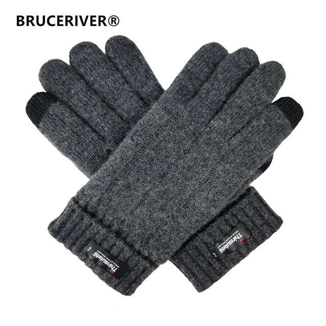 Bruceriver Men's Pure Wool Knitted Touch Screen Gloves with Thinsulate Lining and Rib Design