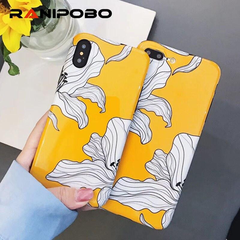 Pétalas pintadas floral brilhante capas de telefone para iphone x xs xr xs max 6s 6plus 7 8 mais brilhante macio silicone caso capa traseira