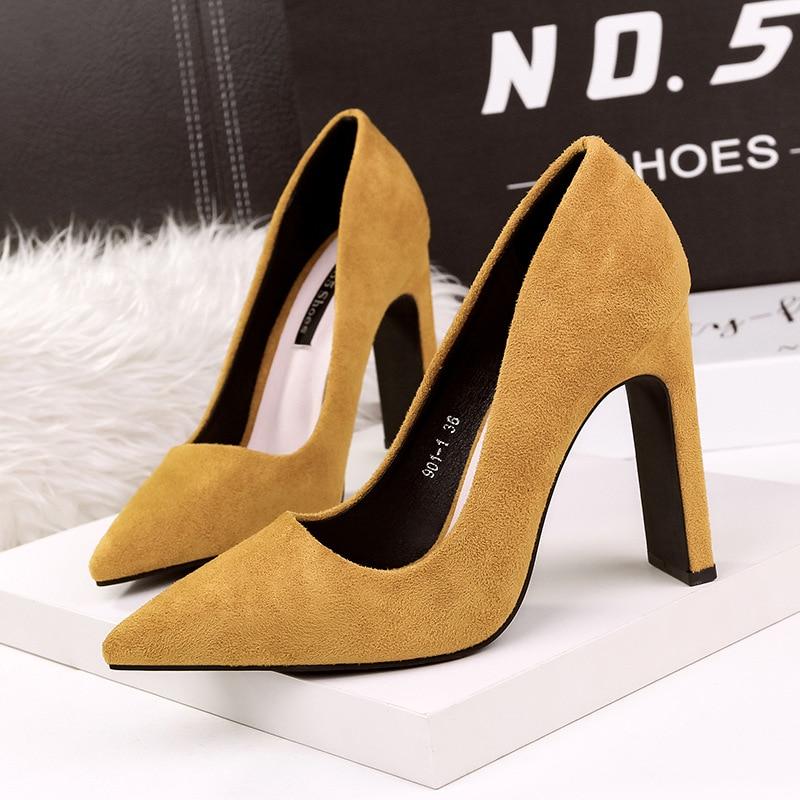 Женские туфли-лодочки на высоком каблуке 10,5 см, из флока, с острым носком, без шнуровки, в Корейском стиле