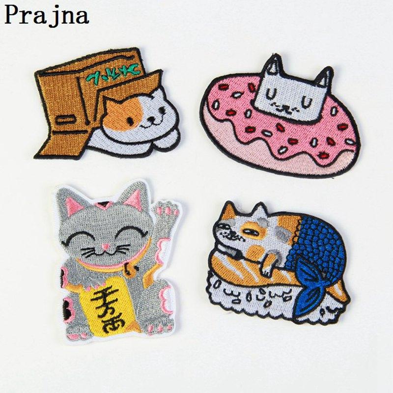 Prajna bonitos parches de dibujos animados gato donut caja gato fortuna gato barato bordado insignias planchar parche para la ropa pegatinas de rayas